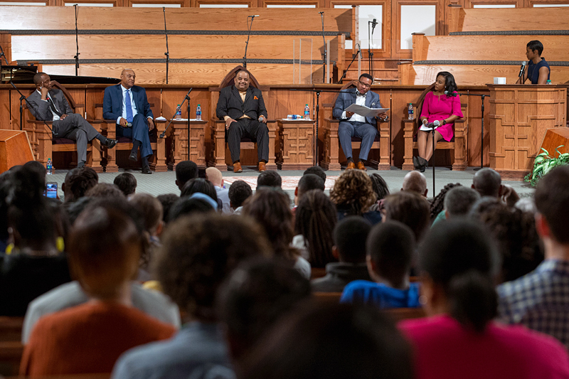 Georgia NAACP president Francys Johnson, third from the right, speaks during a town hall meeting sponsored by Georgia Charter Schools Association and GeorgiaCAN at Ebenezer Baptist Church on Friday, Jan. 13, 2017, in Atlanta. (Branden Camp/AP Images for Georgia Charter Schools Association)