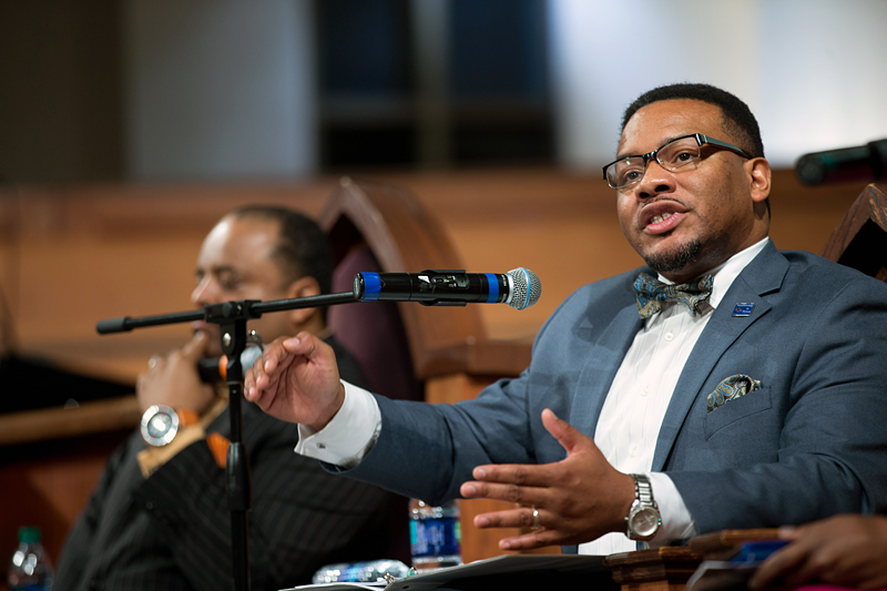 Georgia NAACP president Francys Johnson speaks during a town hall meeting sponsored by Georgia Charter Schools Association and GeorgiaCAN at Ebenezer Baptist Church on Friday, Jan. 13, 2017, in Atlanta. (Branden Camp/AP Images for Georgia Charter Schools Association)