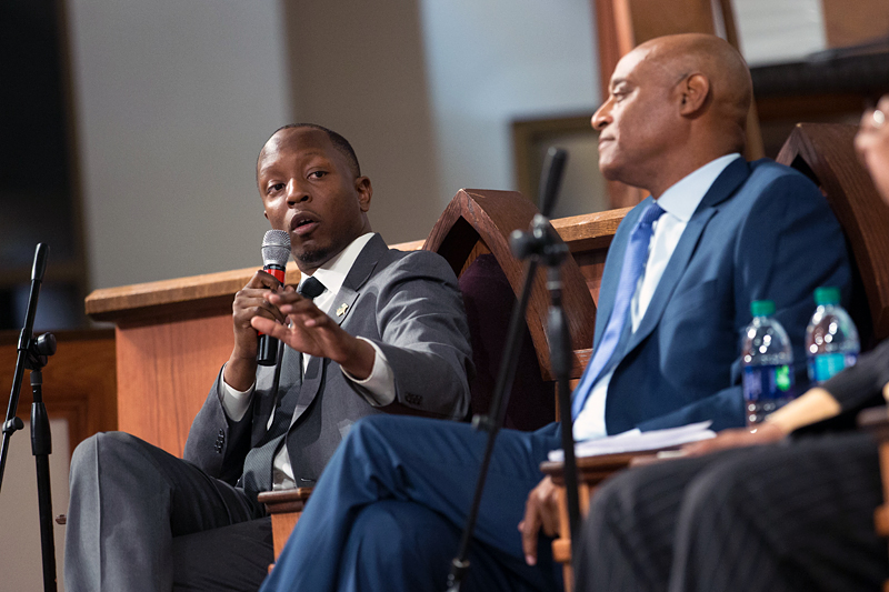 Courtney English, Atlanta board of education chair, left, speaks during a town hall meeting sponsored by Georgia Charter Schools Association and GeorgiaCAN at Ebenezer Baptist Church on Friday, Jan. 13, 2017, in Atlanta. (Branden Camp/AP Images for Georgia Charter Schools Association)