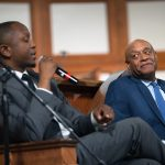 Courtney English, Atlanta board of education chair, left, and Kevin Chavous, national education expert, during a town hall meeting sponsored by Georgia Charter Schools Association and GeorgiaCAN at Ebenezer Baptist Church on Friday, Jan. 13, 2017, in Atlanta. (Branden Camp/AP Images for Georgia Charter Schools Association)