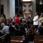 People line up to ask the panelist questions during a town hall meeting sponsored by Georgia Charter Schools Association and GeorgiaCAN at Ebenezer Baptist Church on Friday, Jan. 13, 2017, in Atlanta. (Branden Camp/AP Images for Georgia Charter Schools Association)