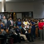 People line up to ask questions during a town hall meeting sponsored by Georgia Charter Schools Association and GeorgiaCAN at Ebenezer Baptist Church on Friday, Jan. 13, 2017, in Atlanta. (Branden Camp/AP Images for Georgia Charter Schools Association)